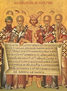 Council of Nicaea. The Roman church (as well as Eastern Orthodox Church) believe that authority is derived from councils, not popular sentiment.